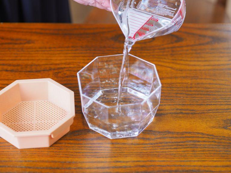 透明容器に水を注ぎます(メッシュ部分+1~2mmくらい)