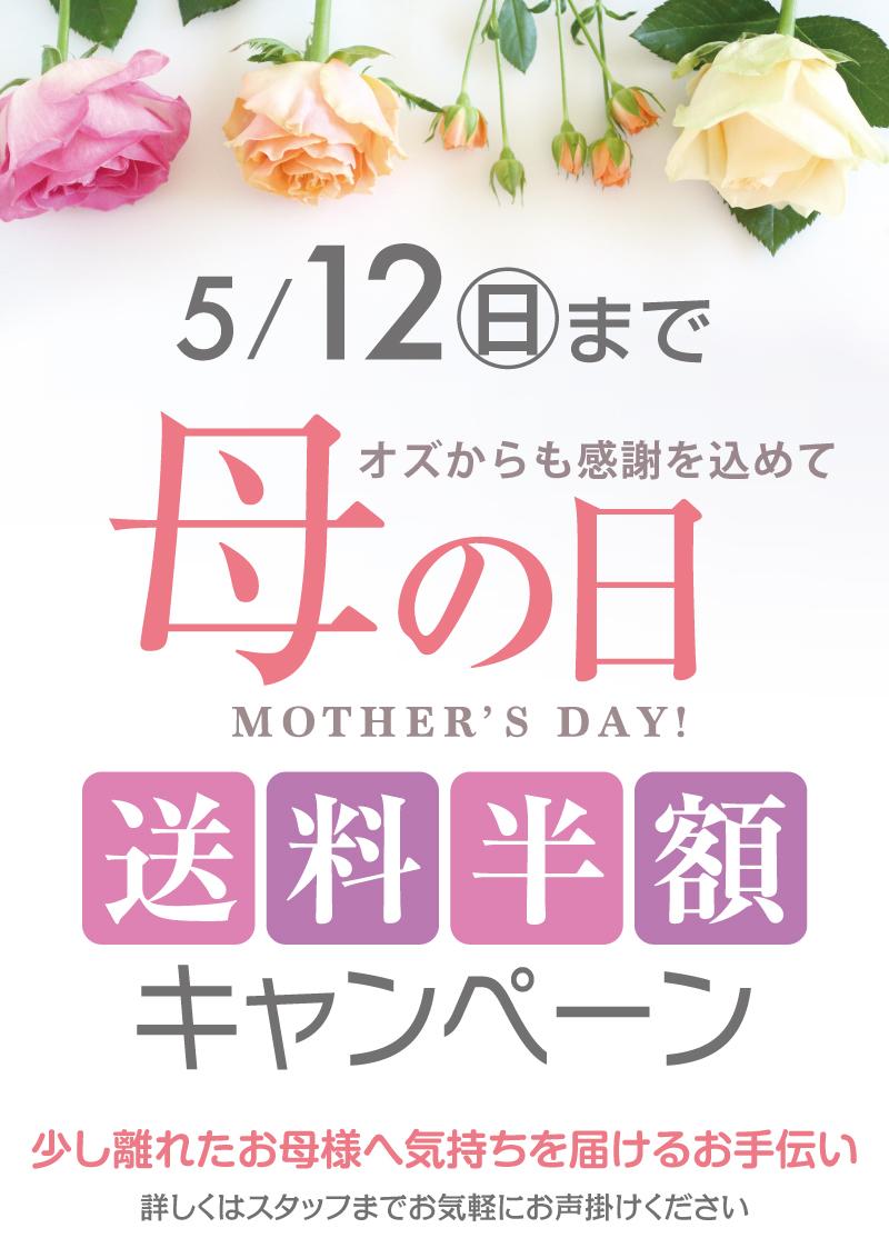 母の日のプレゼント配送料半額キャンペーン