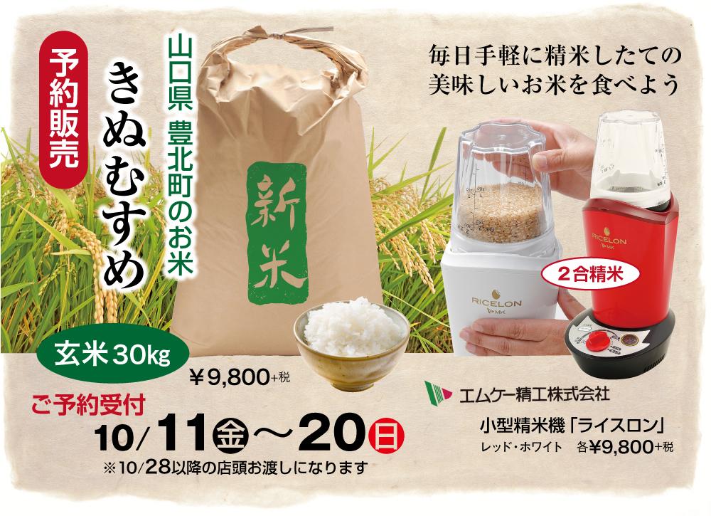 「きぬむすめ」新玄米30kg ご予約販売